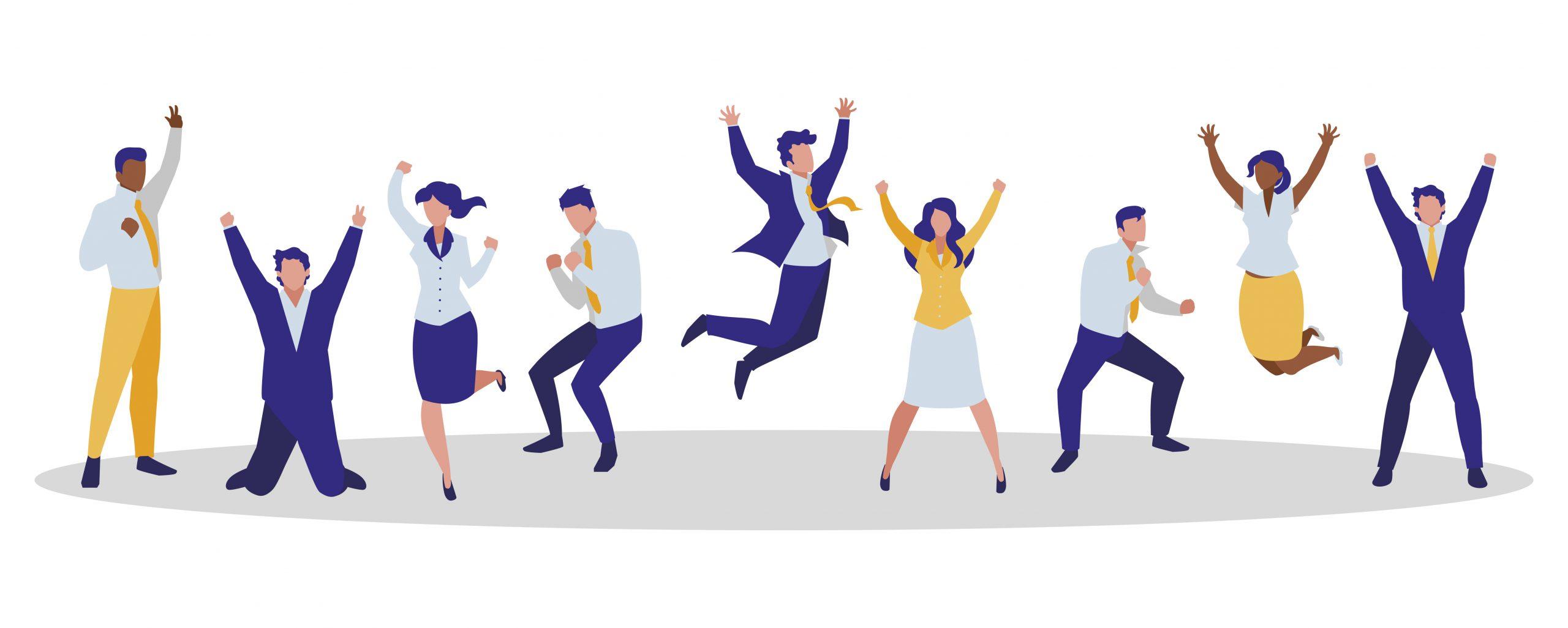 elegant business people celebrating characters